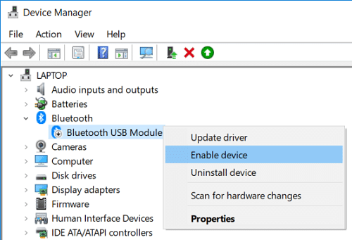 Right-click on your Bluetooth device then select Enable device
