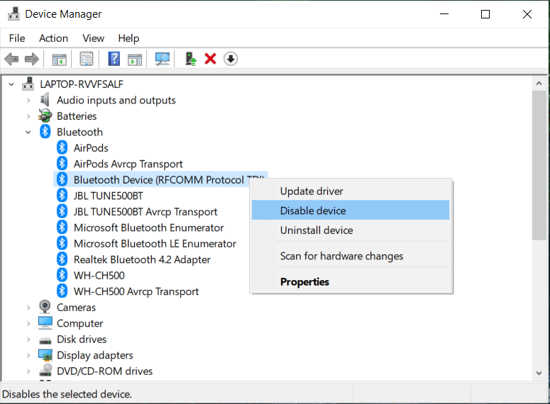 Right-clicks on your Bluetooth device and select Enable if already disable