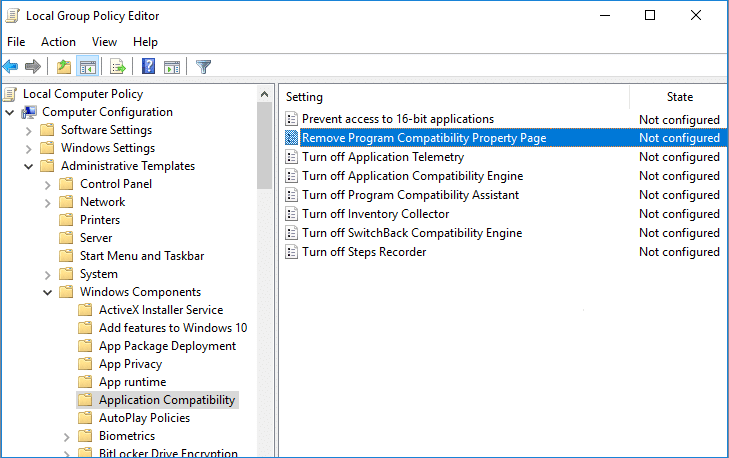 Select Application Compatibility then double-click on Remove Program Compatibility Property Page