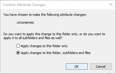Select Apply changes to this folders, subfolders, and files to confirm attribute changes