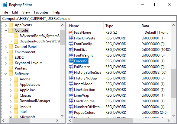 Select Console then in the right window pane scroll down to ForceV2 DWORD