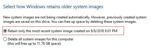 Select Retain only the most recent system image then click OK