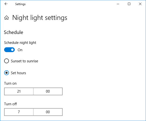 Select Set hours then configure the time for which you want to use the night light