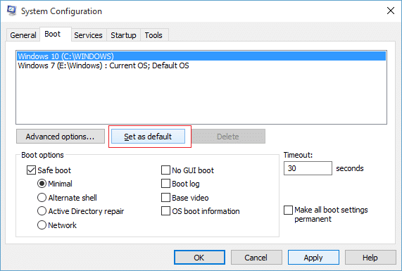 Select the Operating System you want to set as default & then click Set as default