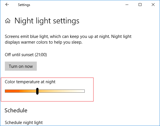 Select the color temperature at night using the bar