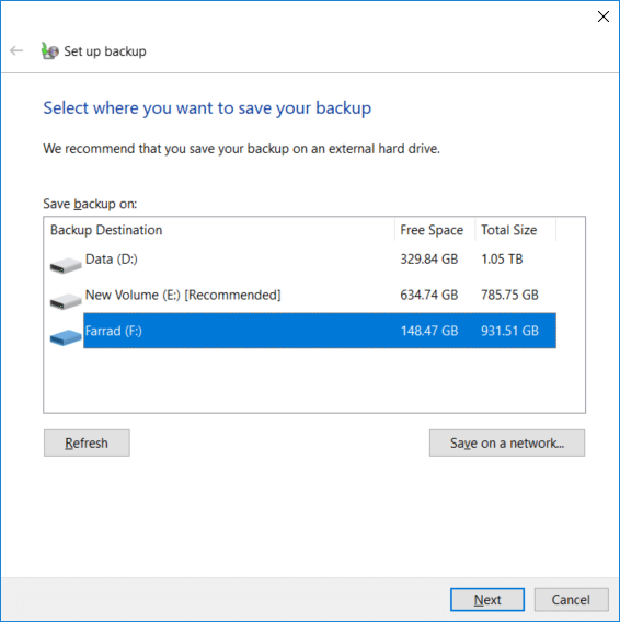 Select the external hard disk which you want to store Windows backup and click Next