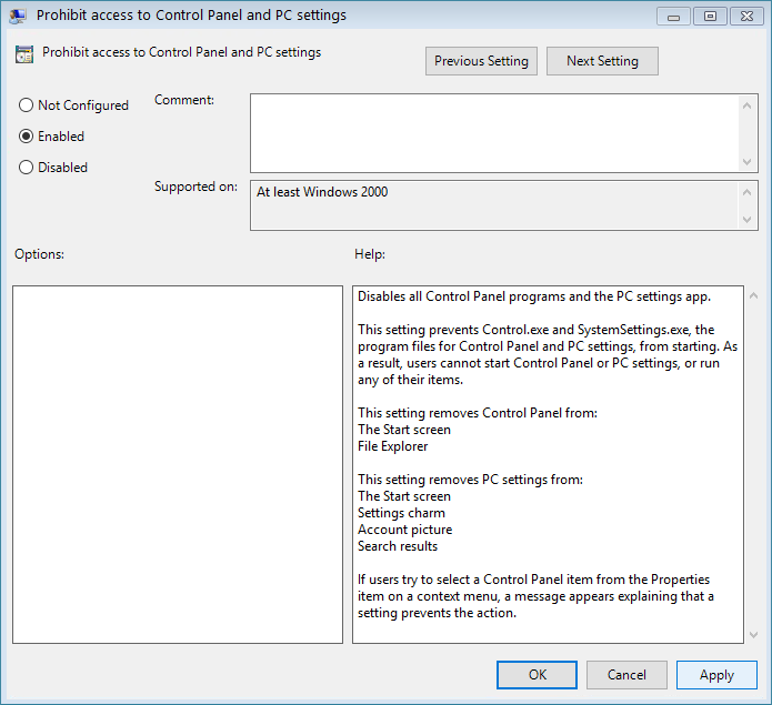 Set the policyProhibit access to Control Panel and PC settings to enabled