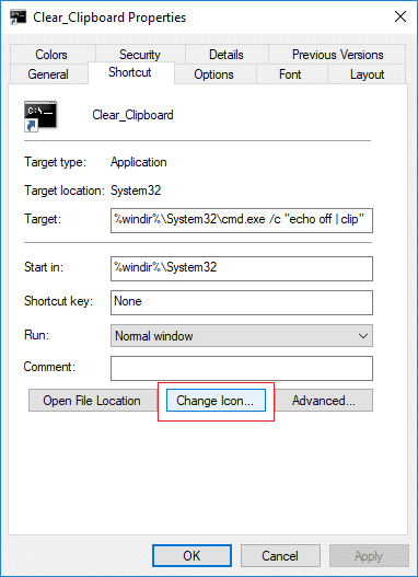Switch to the Shortcut tab then click on Change Icon button