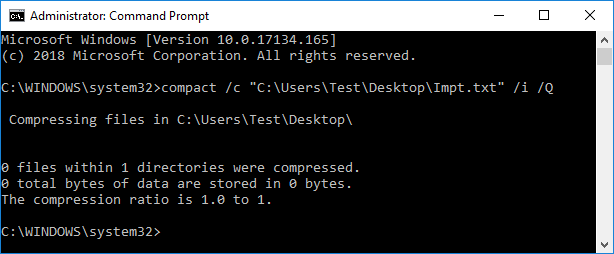 To Compress (Zip) a File type the following command | Zip or Unzip Files and Folders in Windows 10
