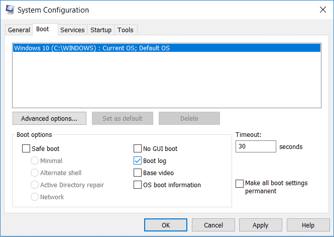 To Enable Boot log simply checkmark 'Boot log' under Boot options