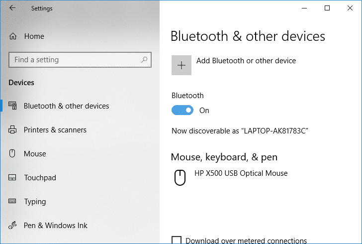Toggle the switch under Bluetooth to ON or OFF