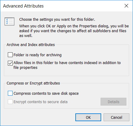 Uncheck Compress contents to save disk space and click OK
