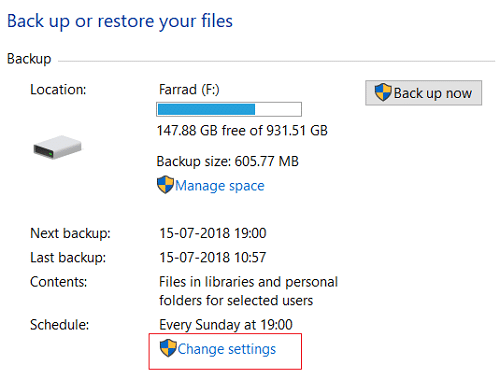 Under Backup and Restore (Windows 7) window click on Change settings under Schedule