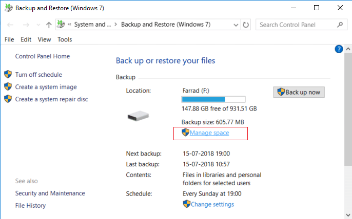 Under Backup and Restore (Windows 7) window click on Manage space under Backup