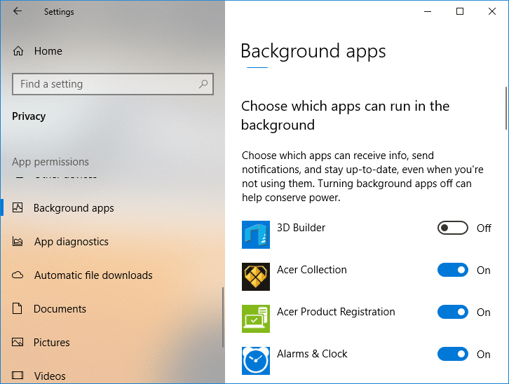 Under Choose which apps can run in the backgrounddisable the toggle for individual apps