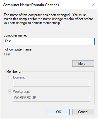 Under Computer name field type in the new name you want for your PC & click OK