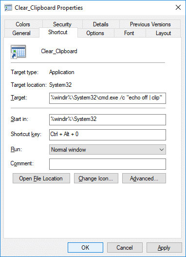 Under Shortcut key set your desired hotkey to easily access the Clear Clipboard shortcut
