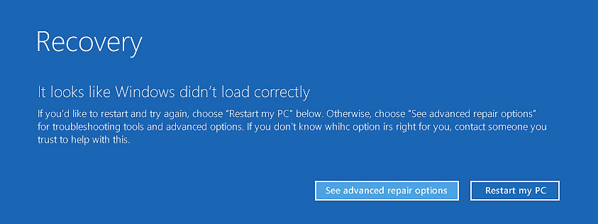 Windows will prepare for Automatic Repair & will give you the optionto either Restart or go to Advanced Startup Options