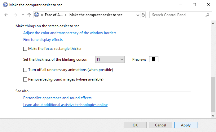 Change Cursor Thickness in Control Panel