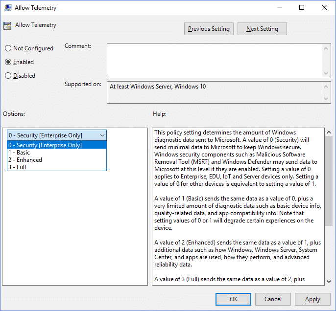 Change Diagnostic and Usage Data Settings in Group Policy Editor