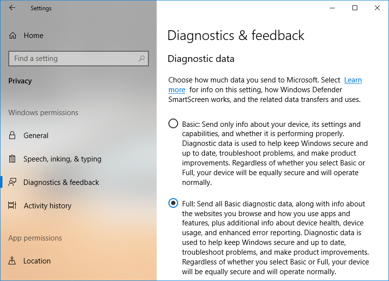 Change Diagnostic and Usage Data Settings in Settings App