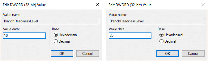 Change theValue of Data Branch Readiness Level