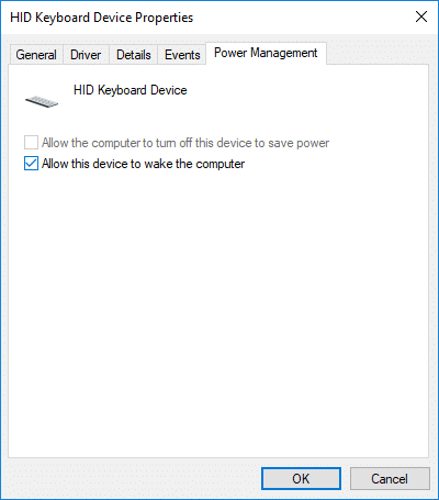 Check or uncheck Allow this device to wake the computer