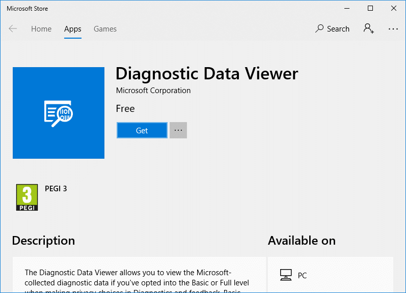 Click Getto download and install Diagnostic Data Viewer app