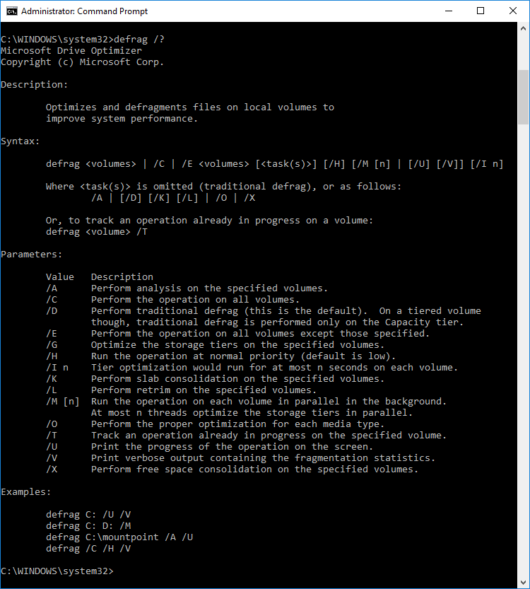 Command prompt parameters for optimize and defrag drives