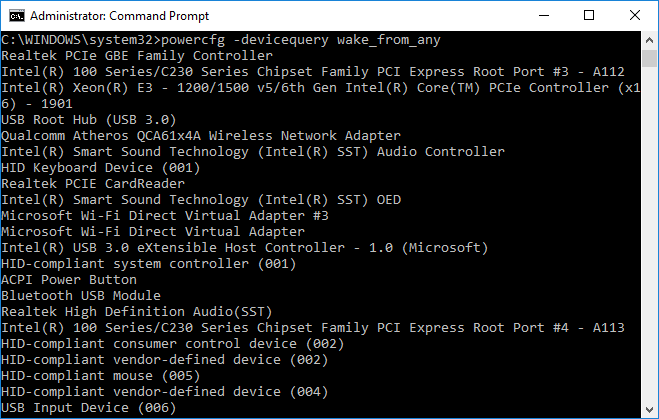 Command to give you a list of all devices which supports waking up your PC from sleep