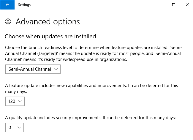 Defer Feature and Quality Updates in Windows 10 Settings