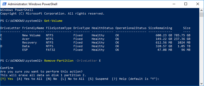 """Delete a Volume or Drive Partition in PowerShell Remove-Partition -DriveLetter """"drive_letter"""""""