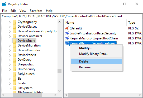 Disable Windows Credential Guard
