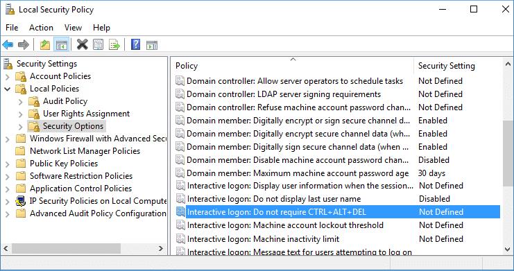 Double click on Interactive Logon Do not require CTRL+ALT+DEL