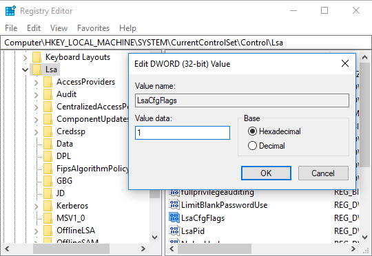 Double-click on LsaCfgFlags DWORD and change its value according to