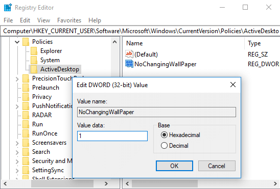 Double-click on NoChangingWallPaper DWORD then change its value from 0 to 1