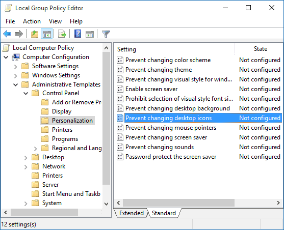 Double-click on Prevent changing desktop icons policy
