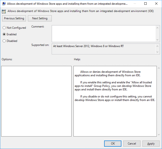 Enable or Disable Developer Mode in Group Policy Editor