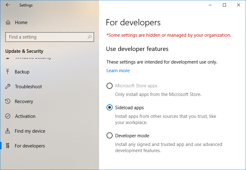 Enable or Disable Developer Mode in Windows 10