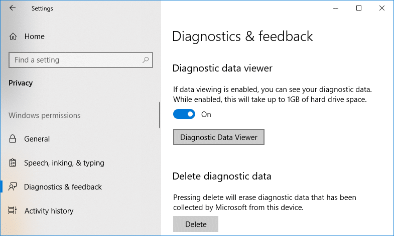 Enable the toggle for Diagnostic Data Viewer & click on Diagnostic Data Viewer button