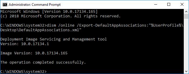 Export Custom Default App Associations in Windows 10