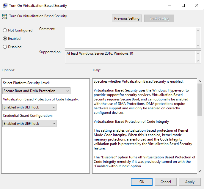 From Select Platform Security Leveldrop-down select Secure Boot or Secure Boot and DMA Protection