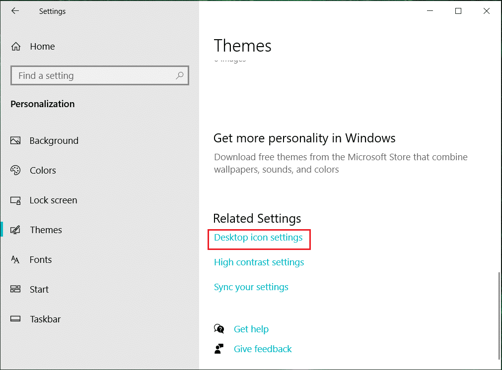 From the far right corner, click on Desktop icon settings link