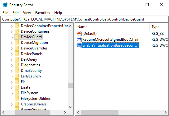 Name this newly created DWORD as EnableVirtualizationBasedSecurity and hit Enter