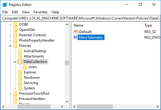 Navigate toAllowTelemetry DWORD under DataCollection in registry