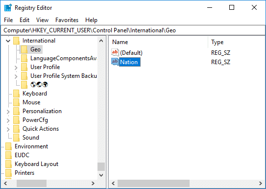 Navigate to International then Geo in Registry then double-click on Nation String