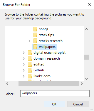 Navigate to and select the picture folder location and click OK