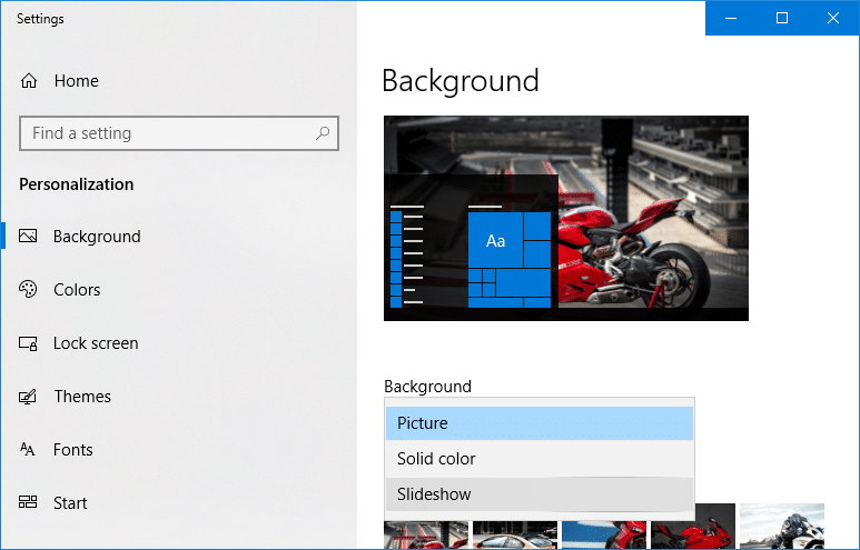 Now under Background drop-down select Slideshow