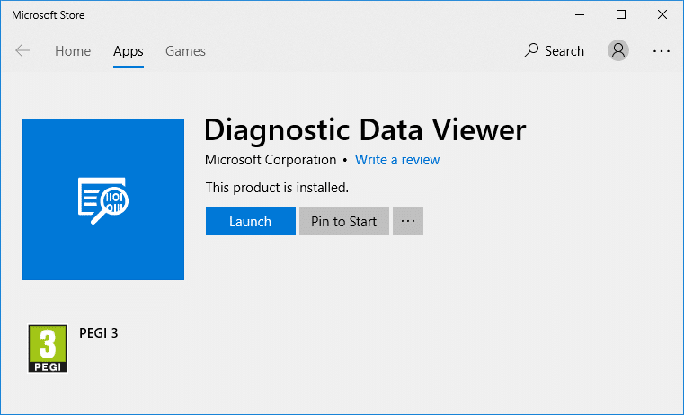 Once the app is installed simply click Launchto open the Diagnostic Data Viewer app