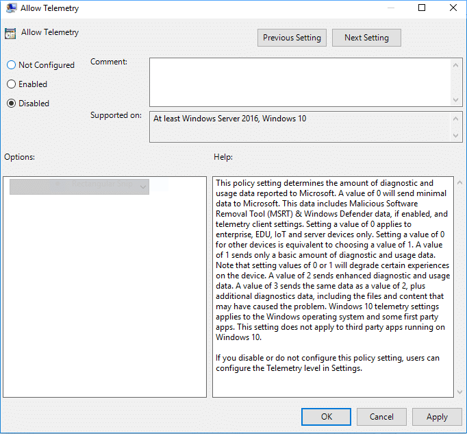 Restore default diagnostic and usage data collection setting simply select Not Configured or Disabled